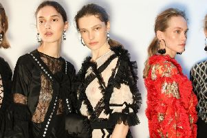 Models backstage at Preen AW19, hair by Wella.