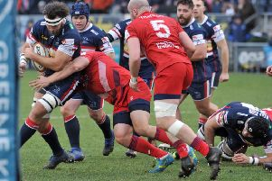 Morgan Eames  of Doncaster Knights charges towards the  Bristol line in the B & I Cup.