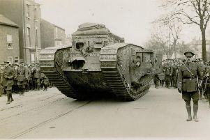 A tank rolls into Doncaster for Tank Bank Week 1918