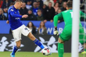 Jamie Vardy scores for Leicester City against Newcastle United at the King Power Stadium