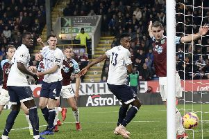 Burnley's Ben Gibson scores his side's only goal in the 5-1 defeat to Everton at Turf Moor on Boxing Day
