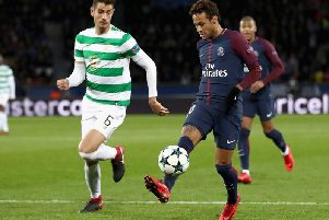 Burnley target Nir Bitton closes down PSG's Neymar during Celtic's Champions League tie with the French champions