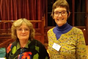 Heather Davis with Gill Radford, Chair of U3A Todmorden. Photo by Gail Allaby