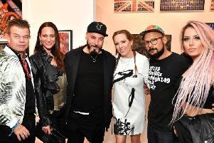 Paul Oakenfold, Phoebe St. Germain Fellows, Roger Sanchez, Allison Freidin, Alan Ket and Kristen Knight attend the opening of the Museum of Graffiti in Miami, Florida.