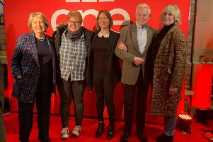 The stars of Last Tango in Halifax on the red carpet at Square Chapel Arts Centre, Halifax.
