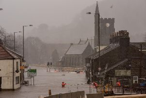 Mytholmroyd on Sunday 9 February morning as Storm Ciara swept across the region