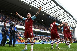 Kieran Trippier of Burnley celebrates the second goal by team mate Danny Ings during the Sky Bet Championship match between Blackburn Rovers and Burnley at Ewood Park on March 9, 2014 in Blackburn, England. (Photo by Jan Kruger/Getty Images)