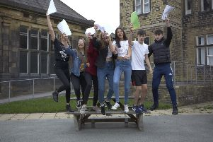 GCSE results. Students at Crossley Heath, Halifax.