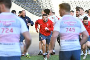 Hull FC's Jake Connor, centre, in training for England today. (SWPix)
