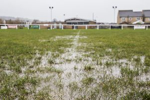 Waterlogged football pitch at Huddersfield Amateurs, Elland.