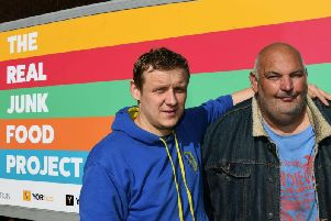 Real Junk Food Project volunteer Darren Instone, 52, was told the devastating news last month that he has incurable cancer and only has up to 12-months left to live. Pictured with Real Junk Food Project founder Adam Smith (left).