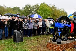 A pit wheel dedicated to those worked and died at a former mine was unveiled at Walton Colliery Nature Park at the weekend.