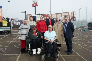 Wheelchair-bound Damon Nicholson is unable to use a platform at his local Pontefract Monkhill Station because there is no step-free access. Pictured with friends and local councillors, Clive Tennant, Pat Garbutt and David Jones.