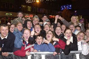 The cheering crowds during the switch on in 2004.