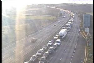 More than four miles of traffic has been reported on the M1 at Wakefield this morning. Photo: Highways England.