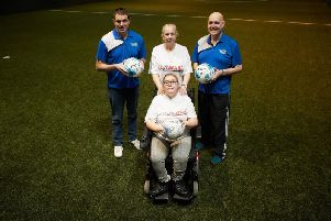 Pictured are Gillian and Sabrina Archbold, Kidz Aware, Karl Powell and Darren Hoyland, Wakefield Football Centre.