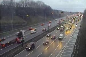 Highways England said they are unable to safely open the hard shoulder to traffic on the M62 causing delays.