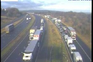 Police have closed a two-mile stretch of the M1 this morning, after an incident involving a vehicle and a pedestrian. Photo: Highways England
