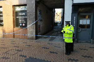 Police have cordoned off a Wakefield city centre street as they continue their investigations into a firearms incident. Photo: Nick Frame