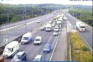 Junction 25, Brighouse - traffic is building after the accident this morning