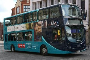 An Arriva bus in Yorkshire. Two vehicles are currently stuck inside a roadworks zone