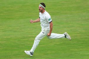 HEADBAND WARRIOR! Yorkshire's Jack Brooks celebrates after talking the wicket of Somerset's Eddie Byrom at Headingley last month. Picture: Alex Whitehead/SWpix.com.