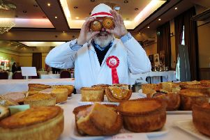 The Great Yorkshire Pork Pie and sausage competition at Cedar Court Hotel, Leeds.. Pork Pie Judge Stuart Blakey pictured at the competition 18th November 2018 ..Picture by Simon Hulme