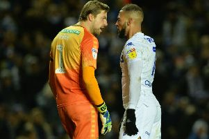 Norwich goalkeeper Tim Krul squares up to Leeds United's Kemar Roofe. Picture: Bruce Rollinson