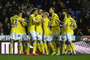Leeds United players celebrate Pablo Hernandez's second goal at Reading. Picture: Jonathan Gawthorpe