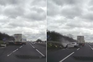 A lorry smashed into a car on the M1 motorway