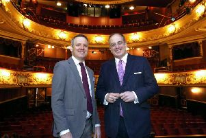 Arts Minister Michael Ellis and Matt Smith, CEO of Key Fund at the Theatre Royal Wakefield