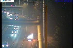 There is a vehicle fire on the M62 near Wakefield.