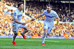 Pablo Hernandez celebrates his winning goal with Jack Harrison. Picture: Tony Johnson.