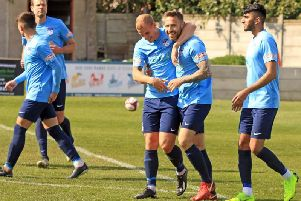Tom Greaves celebrates with strike partner Adam Priestley after scoring on Saturday afternoon. PIC: John Hirst.