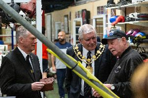 Mayor of Wakefield, Cllr Stuart Heptinstall chats to White Rose coach John Hall