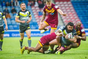 David Fifita in action against Huddersfield Giants. PIC: James Heaton.