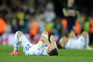 Leeds United's Pablo Hernandez is a dejected figure at the end of the play-off semi-final with Derby. Picture: Tony Johnson.