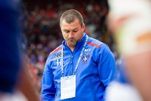 Wakefield Trinity coach Chris Chester shows his frustration on the sidelines against Catalans Dragons.
