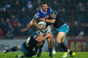 No way through: Keegan Hirs is stopped by  the Rhinos defence.'Picture: Bruce Rollinson