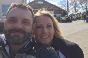 Selfie taken by Steve Caroll and partner Lee-Ann Parkin at a caf in Driffield, East Yorkshire. Lee-Ann's sister Beth said it was taken just twenty minutes before they were involved in a fatal motorbike collision.