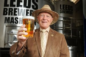 Charity: Geoffrey Boycott with the beer that will be available this summer.