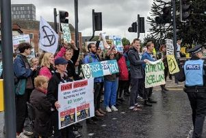 Extinction Rebellion protesters block traffic on the A61 in Leeds