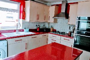 Karen's new red kitchen worktops