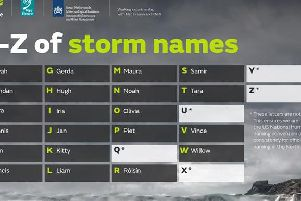 Earlier this summer Met Office and Met ireann received thousands of suggestions from the public after asking people to send in ideas for future storm names.