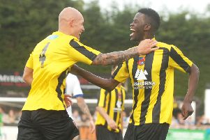 Cecil Nyoni celebrates his goal against Leeds United in pre-season Picture : Adrian Murray.(1507101AM17)