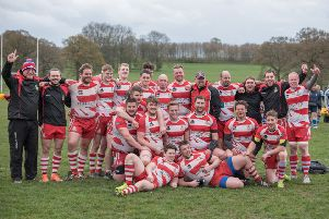 The Wetherby RUFC team celebrate after beating Stocksbridge (Photo: Guy Roberts)