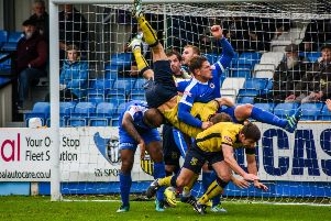 Tadcaster Albion endured a frustrating afternoon at the i2i Stadium as they were knocked out of the FA Trophy by Glossop North End. Picture: Matthew Appleby