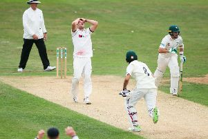FRUSTRATION: Yorkshire's David Willey shows his disappointment as Worcestershire pile on the runs at Scarborough. Picture by Alex Whitehead/SWpix.com