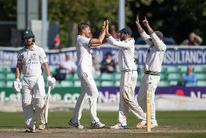 Ben Coad celebrates the wicket of Worcestershire's Alex Milton at New Road. Picture courtesy of John Heald.