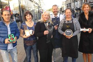 Commercial Street.  Saeid Partow(Iconic Vape), Ruth Hampson(Bean and Bud), Sue Kramer(Crown Jewellers), Alex Tabor(Blue Beards Barber Shop), Gemma Aykroyd (The Cheese Board of Harrogate) and Claire Rose (Miss Claire Rose)